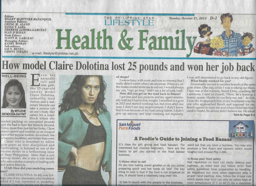 Philippine Star features Clare Dolotina